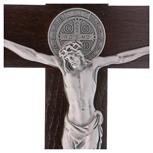 Croix Saint Benoît bois de noyer avec base 40x20 cm 2