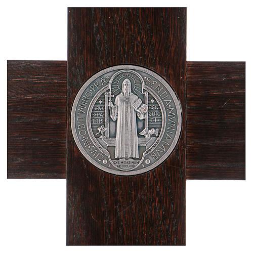 Croix Saint Benoît bois de noyer avec base 40x20 cm 4