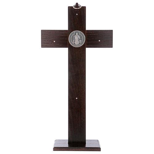 Croix Saint Benoît bois de noyer avec base 40x20 cm 5