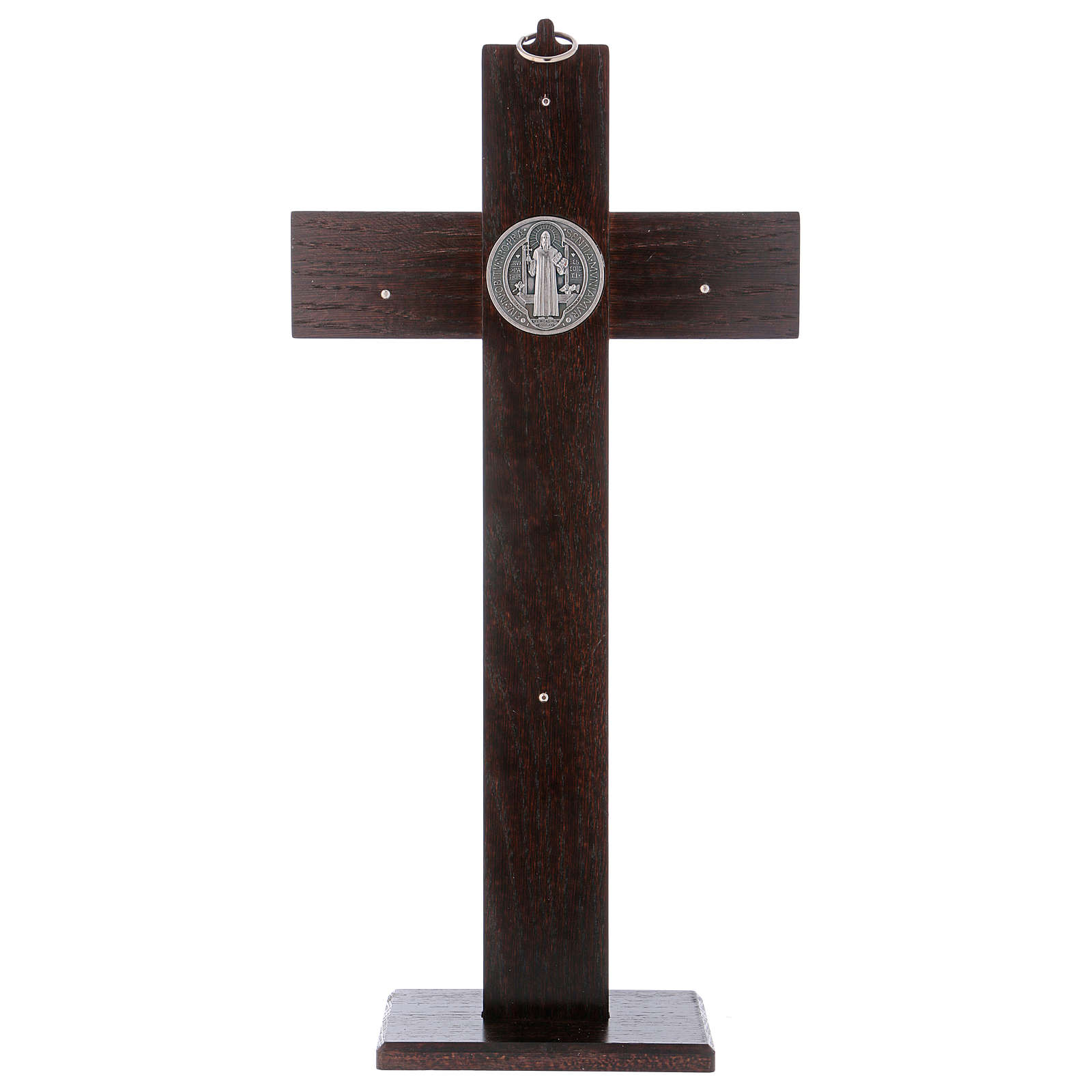 Standing cross of St. Benedict, walnut wood with base, 40x20 cm 4