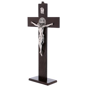 Standing cross of St. Benedict, walnut wood with base, 40x20 cm s3