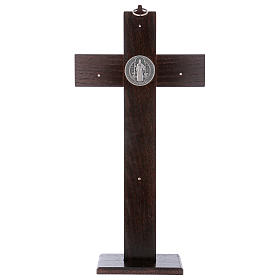 Standing cross of St. Benedict, walnut wood with base, 40x20 cm s5