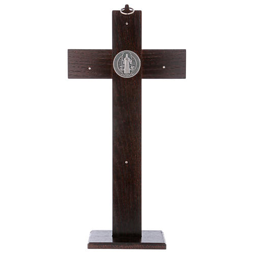 Standing cross of St. Benedict, walnut wood with base, 40x20 cm 5