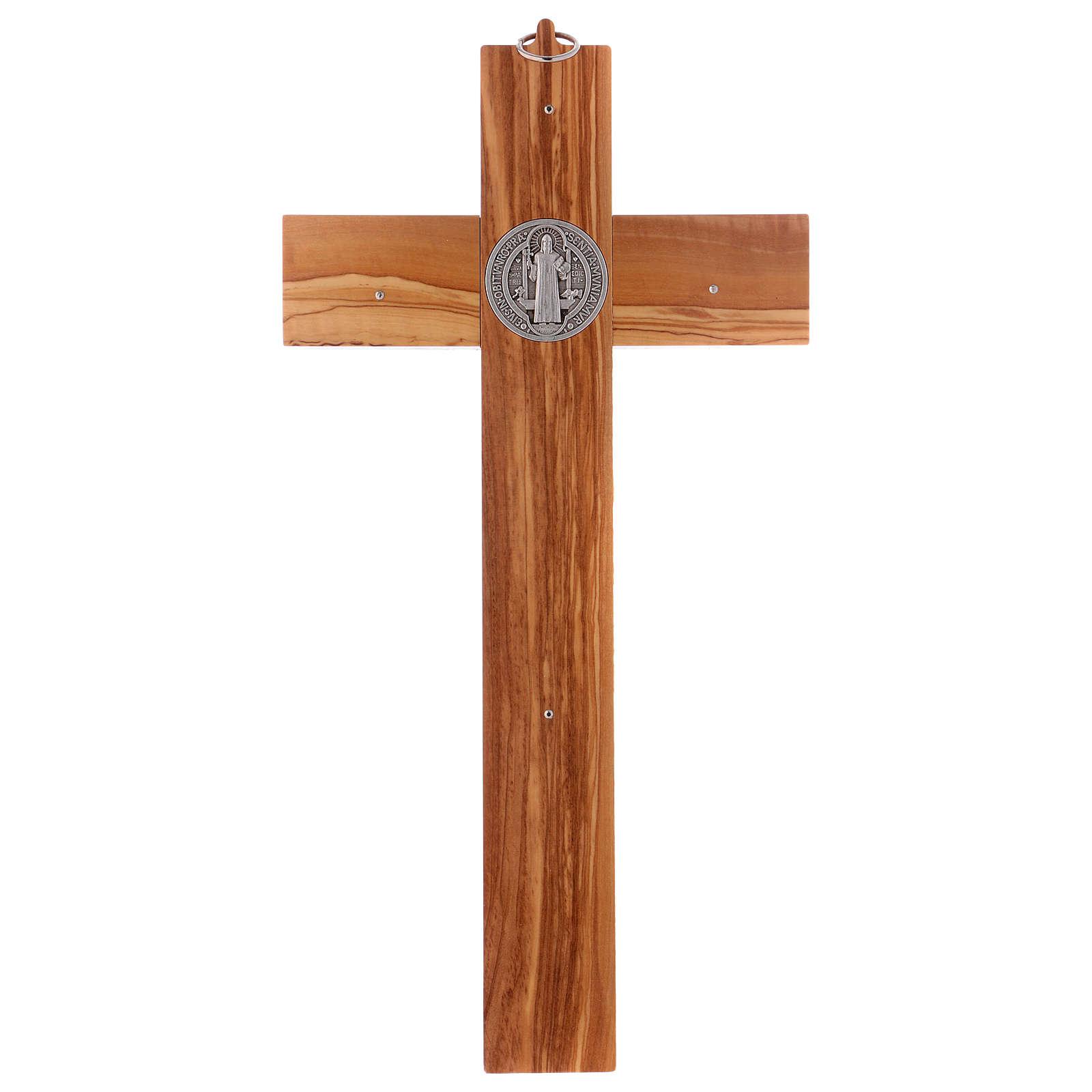 Croix Saint Benoît bois d'olivier 40x20 cm 4