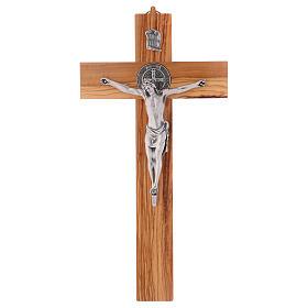 Croix Saint Benoît bois d'olivier 40x20 cm s1