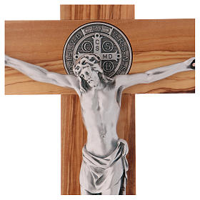 Croix Saint Benoît bois d'olivier 40x20 cm s2