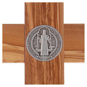 Croix Saint Benoît bois d'olivier 40x20 cm s4