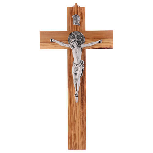 Croix Saint Benoît bois d'olivier 40x20 cm 1