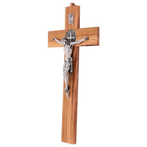 Croix Saint Benoît bois d'olivier 40x20 cm 3