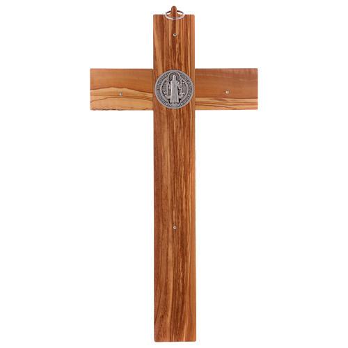 Croix Saint Benoît bois d'olivier 40x20 cm 5