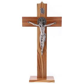 Croix Saint Benoît bois d'olivier avec base 40x20 cm s1