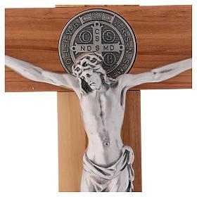 Croix Saint Benoît bois d'olivier avec base 40x20 cm s2