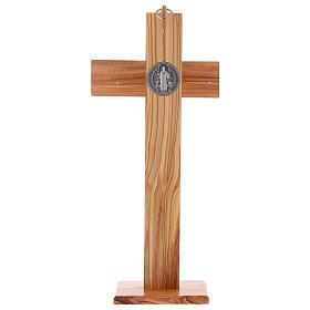 Croix Saint Benoît bois d'olivier avec base 40x20 cm s5