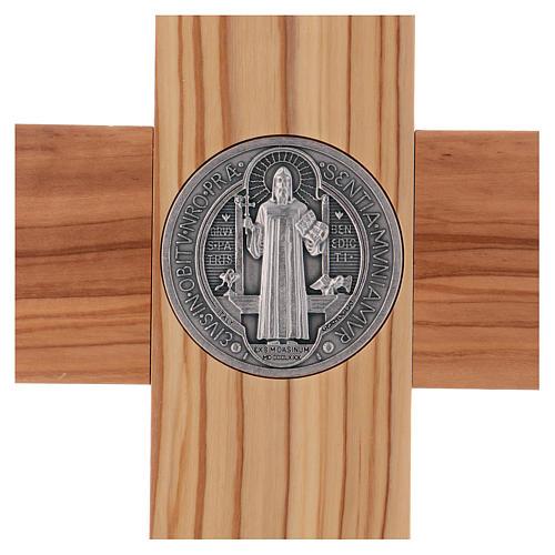 Croix Saint Benoît bois d'olivier avec base 40x20 cm 4