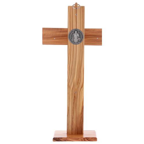 Croix Saint Benoît bois d'olivier avec base 40x20 cm 5