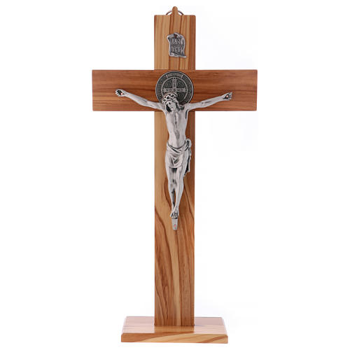 St. Benedict's cross in olive wood 40x20 cm 1