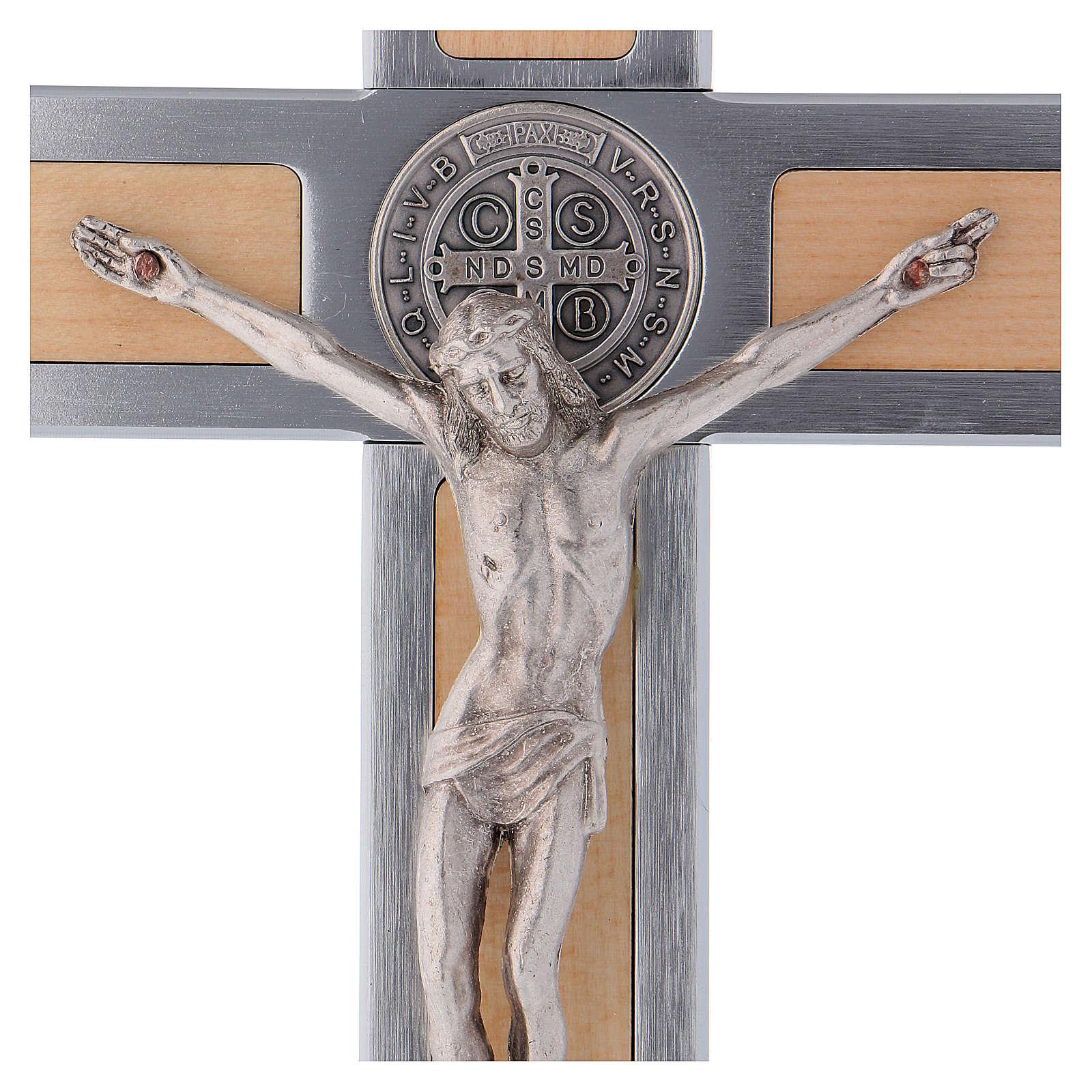 Croix Saint Benoît en aluminium et bois d'érable 25x12 cm 4