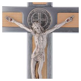 Croix Saint Benoît en aluminium et bois d'érable 25x12 cm s2