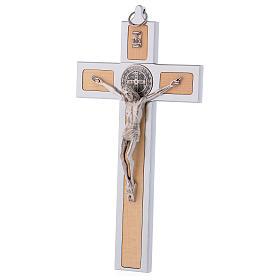 Croix Saint Benoît en aluminium et bois d'érable 25x12 cm s3