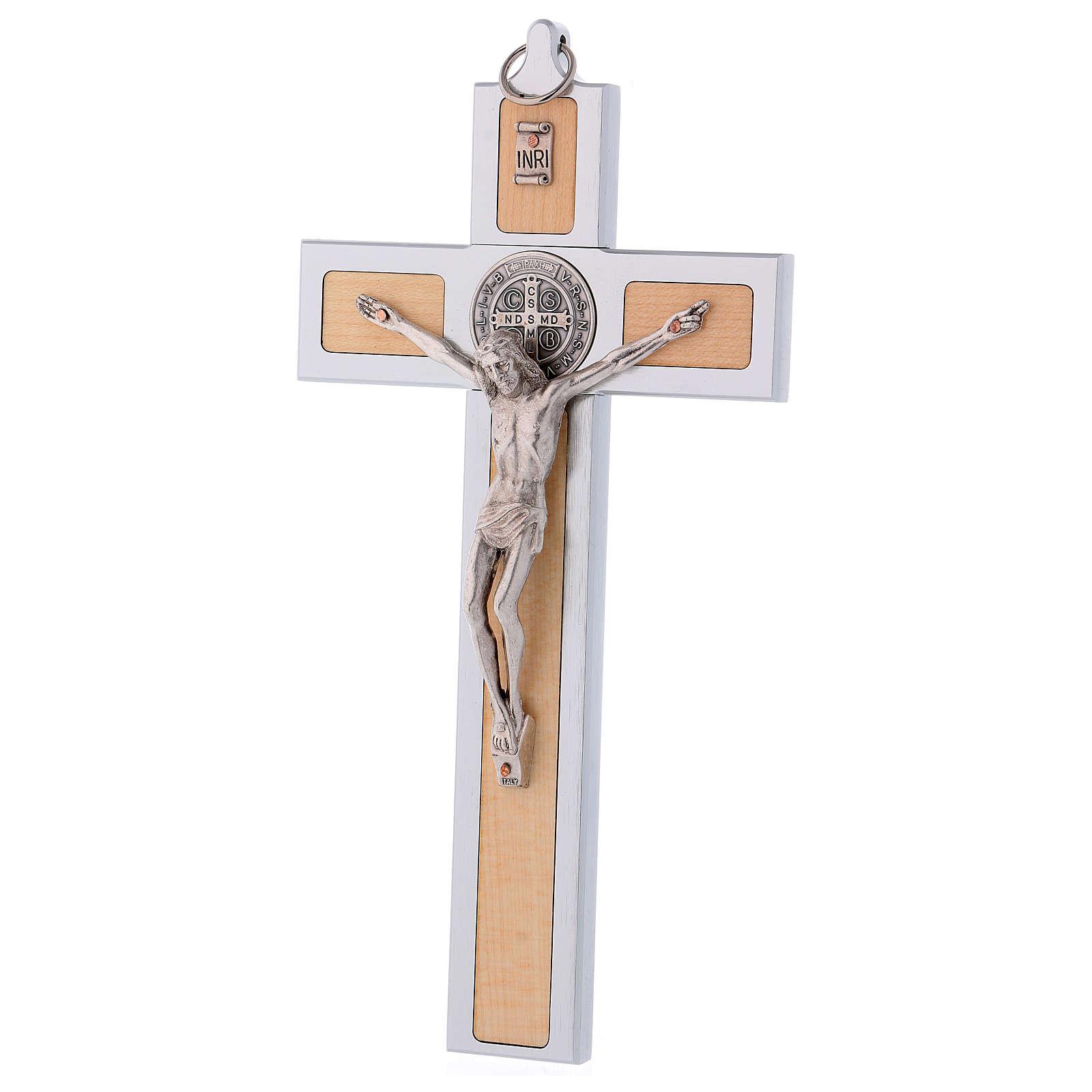 Croce San Benedetto in alluminio e legno d'acero 25x12 cm 4