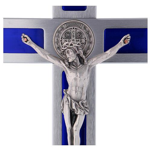 Emailliertes Kreuz von Sankt Benedikt aus Aluminium, 30 x 15 cm