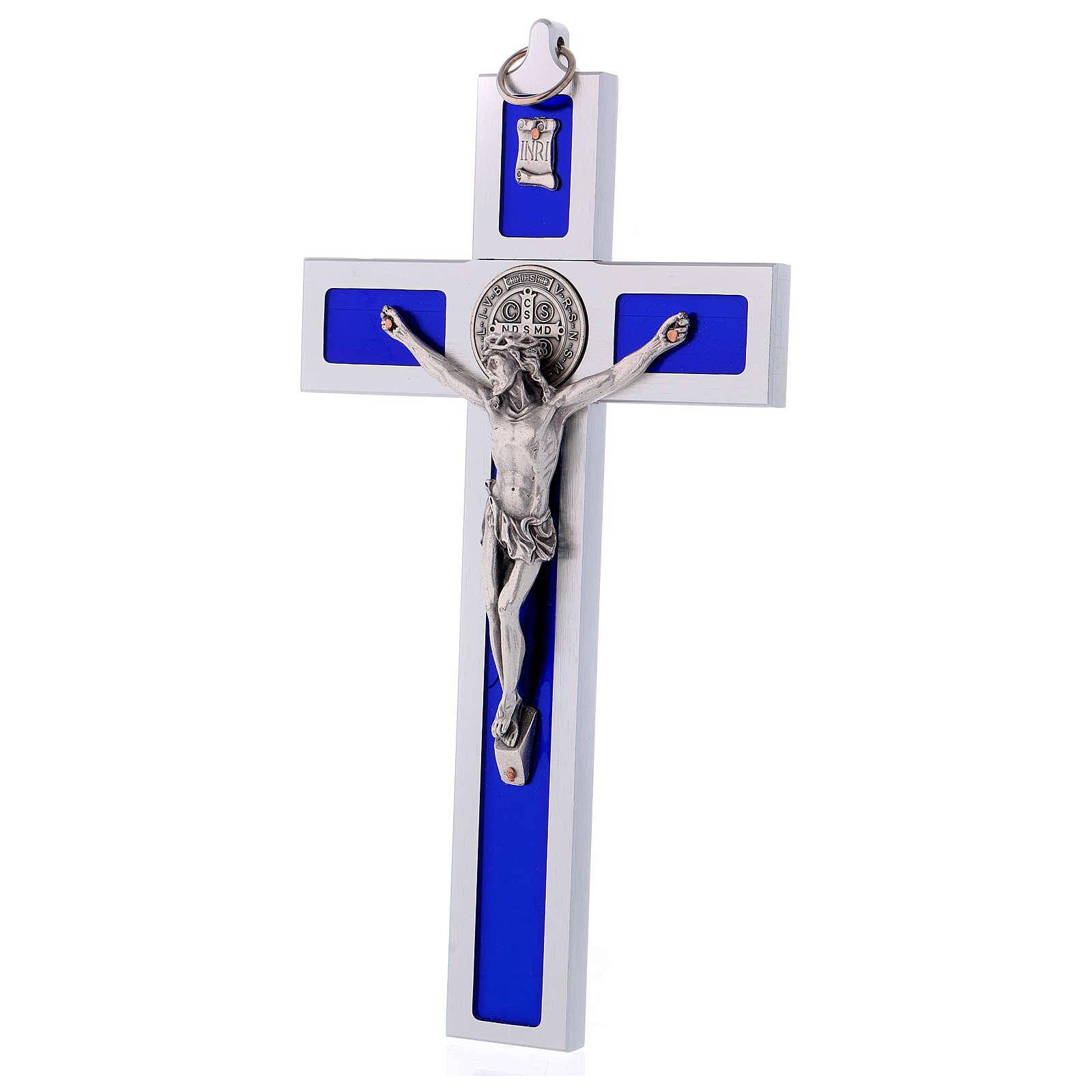 Croix Saint Benoît en aluminium émaillé 30x15 cm 4