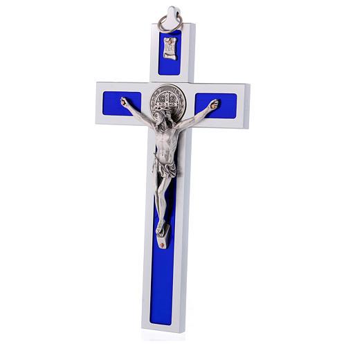 Croix Saint Benoît en aluminium émaillé 30x15 cm 3