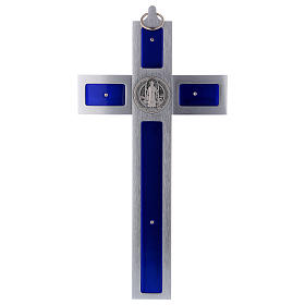 Croce San Benedetto in alluminio e smaltato 30x15 cm s4