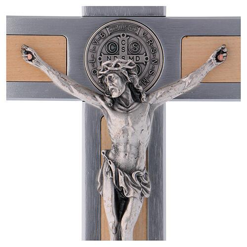 Kreuz von Sankt Benedikt aus Ahornholz und Aluminium, 30 x 15 cm