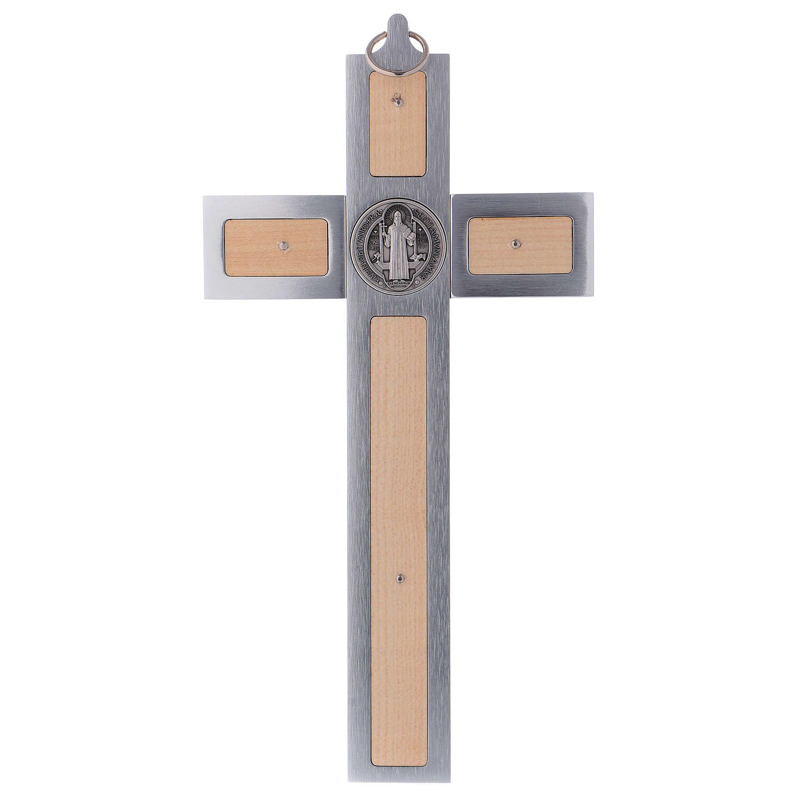 Croix Saint Benoît en aluminium et bois d'érable 30x15 cm 4