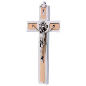 Croix Saint Benoît en aluminium et bois d'érable 30x15 cm s3