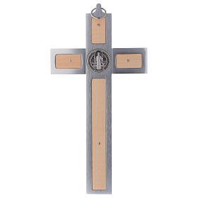 Croix Saint Benoît en aluminium et bois d'érable 30x15 cm s4