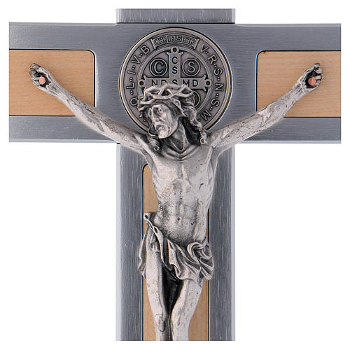 Saint Benedict Cross in aluminium and maple wood 30x15 cm 2