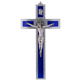 Croix Saint Benoît en aluminium émaillé 40x20 cm s1