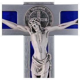 Croix Saint Benoît en aluminium émaillé 40x20 cm s2