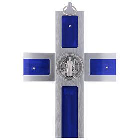 Croix Saint Benoît en aluminium émaillé 40x20 cm s4