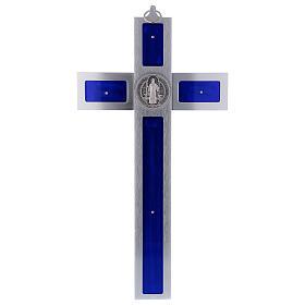 Croix Saint Benoît en aluminium émaillé 40x20 cm s5