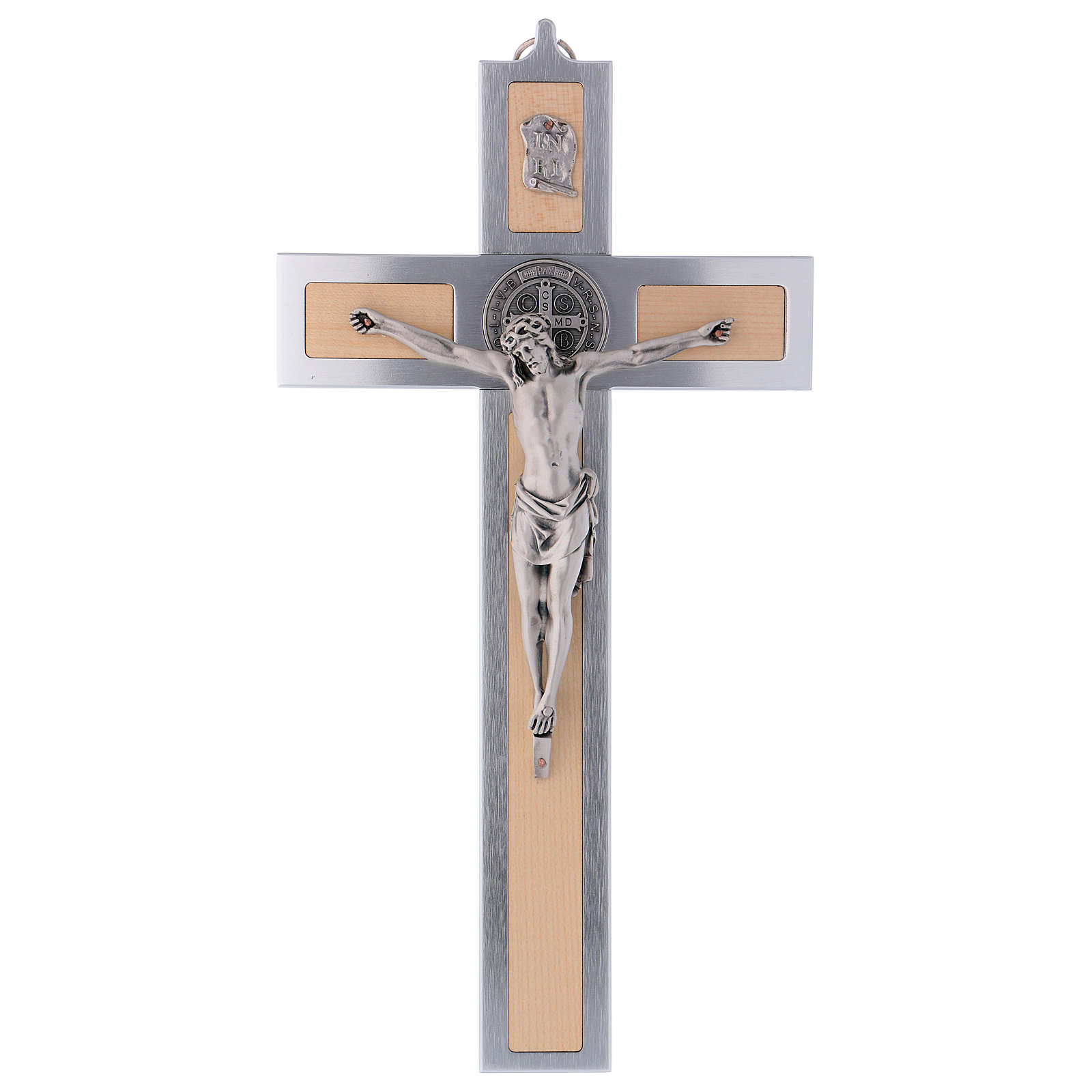 St. Benedict's cross in aluminium and maple 40x20 cm 4