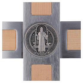 St. Benedict's cross in aluminium and maple 40x20 cm s4