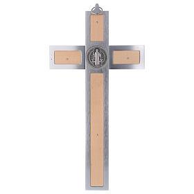 Cruz San Benito de aluminio y madera de arce 40x20 cm s5
