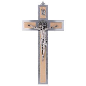 Krzyż Świętego Benedykta z aluminium i drewna klonowego 40x20 cm s1