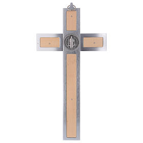 Krzyż Świętego Benedykta z aluminium i drewna klonowego 40x20 cm s5