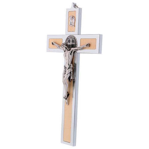 Krzyż Świętego Benedykta z aluminium i drewna klonowego 40x20 cm 3
