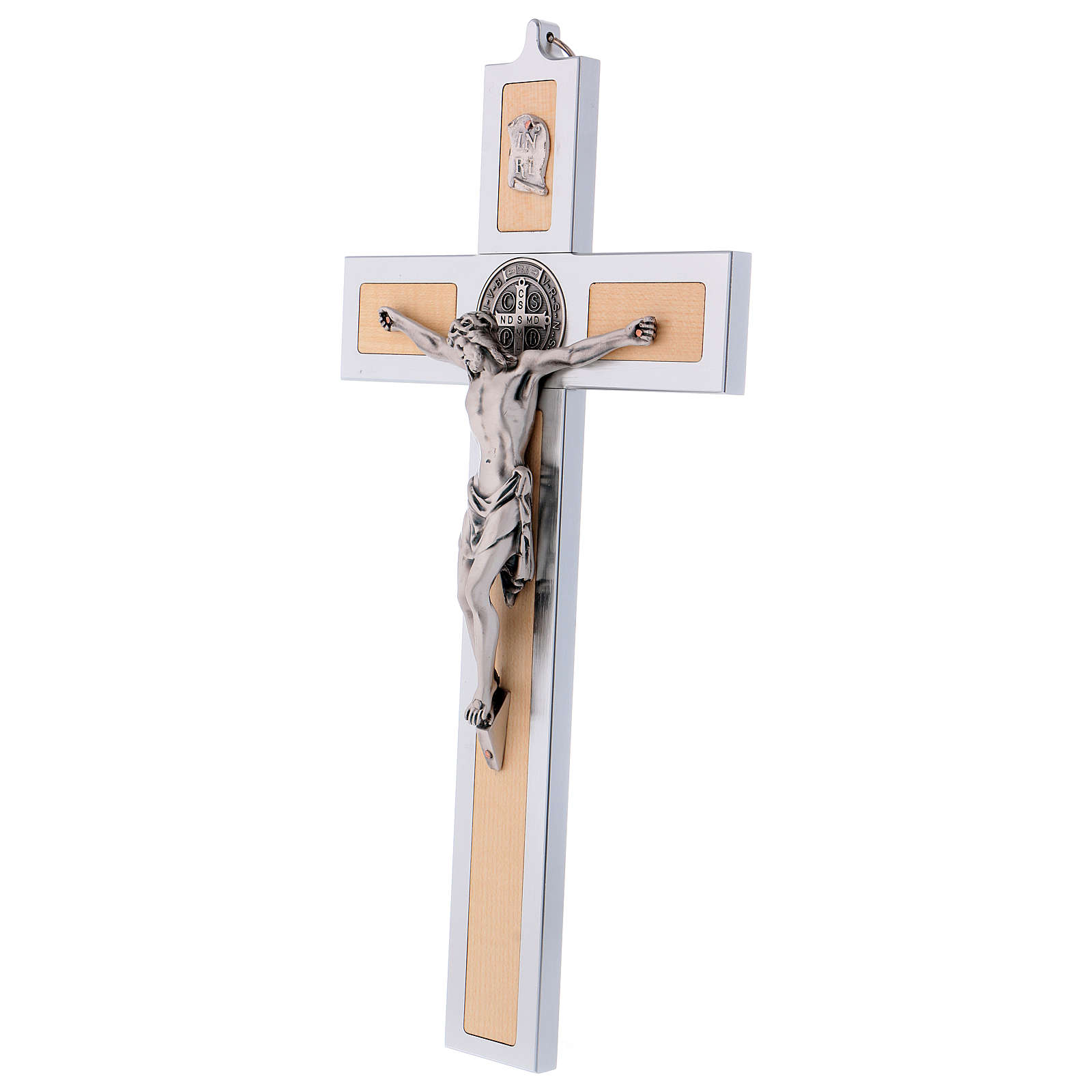 St. Benedict Cross in aluminum and maple wood 40x20 cm 4