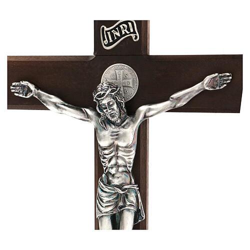Kreuz von Sankt Benedikt aus Nussbaumholz, 35 cm