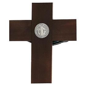 Croix en noyer de Saint Benoît 35 cm s4