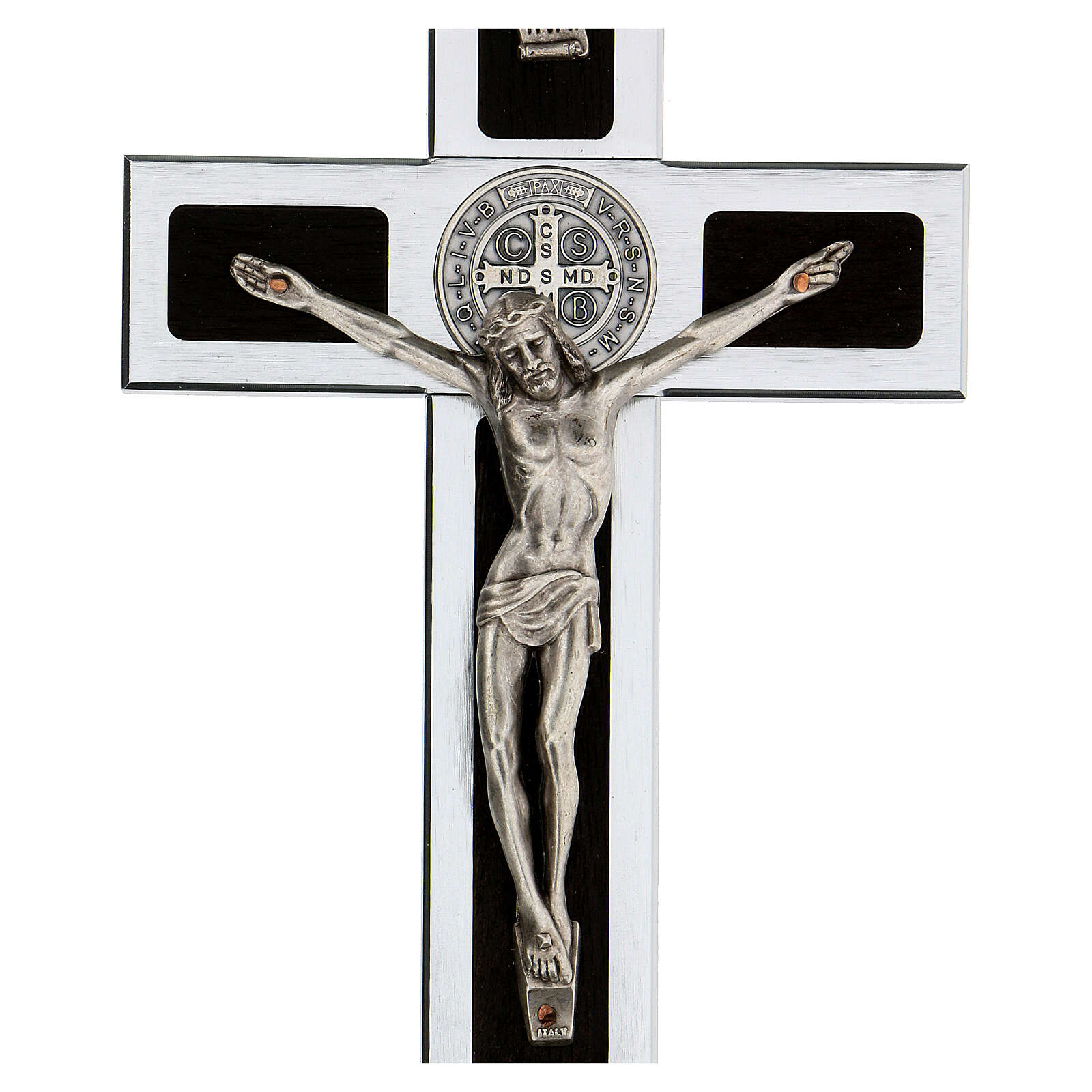 Cruz San Benito aluminio madera con basae 25x10 cm 4