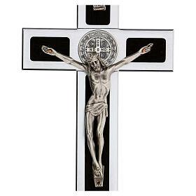 Croce San Benedetto alluminio legno con base 25x10 cm s2