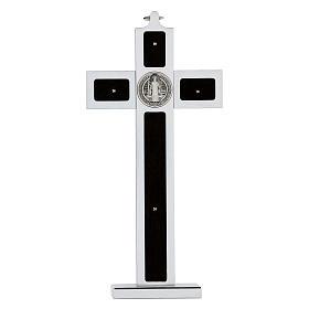 Croce San Benedetto alluminio legno con base 25x10 cm s5