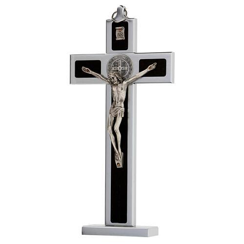 Croce San Benedetto alluminio legno con base 25x10 cm 3